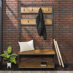 Manor Park Industrial Hall Tree with Shoe Bench and Coat Hooks, Barnwood