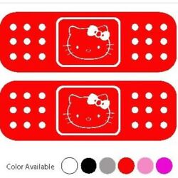 Hello Kitty 2 pc Car-Mirror Window Vinyl Decal Sticker-Bandages-RED