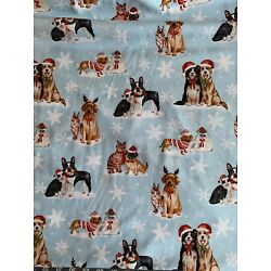 Kyпить Dogs & Cats Christmas Cotton Fabric On Blue Background- Sold By The Half Yard  на еВаy.соm