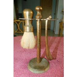 Kyпить Antique Brass Shaving Stand with Razor and  Shaving Brush Solid Brass на еВаy.соm