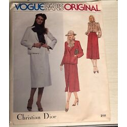 Kyпить Vintage Vogue Paris Original Uncut Christian Dior 2111 Suit Skirt Blouse Size 12 на еВаy.соm