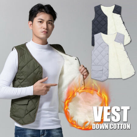 img-Mens Quilted Waistcoat Gilet Plush Lined Thermal Padded Vest Jacket Winter Warm