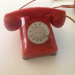 Kyпить WESTERN ELECTRIC W E 302 RED ROSE DIAL TELEPHONE REAT SHAPE WITH COLORED CORD ES на еВаy.соm