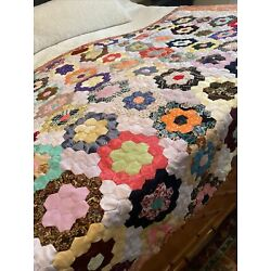 Kyпить Vintage Lap Quilt Grandmothers Flower Garden Women's Dress Fabric  на еВаy.соm