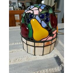 Kyпить Vtg Ting Shen TABLE LAMP Stain Glass Shade Fruit Pear Apple Night Light  на еВаy.соm