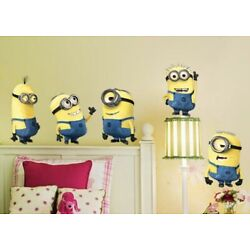 NEW 36  x 24  Set of 5 Minions Approx 12  x 6  Each Vinyl Wall Decor Decals