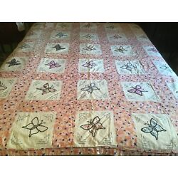 Kyпить Vintage 1960s Handmade Butterfly Bedspread Quilt 66 X 76 Embroidered - AS IS на еВаy.соm