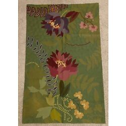 Kyпить Anthropologie Greens Floral Embroidered Rug 3x5 на еВаy.соm