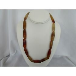 Vintage African Trade Banded Agate Faceted Tube Bead Strand 23