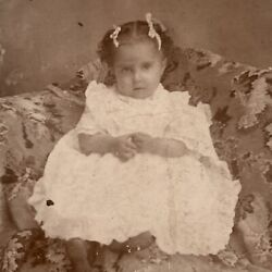 Kyпить Antique Cabinet Card Photograph Child Sweet Little Girl Bows Reading Pa на еВаy.соm