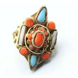 Kyпить Antique Hand Carved Inlaid Turquoise Red Coral American Ring  на еВаy.соm