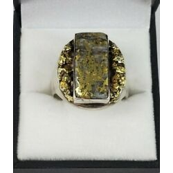 Kyпить Custom Sterling Silver And Natural Gold Nugget Cabachon Ring Chunky 24 Grams на еВаy.соm