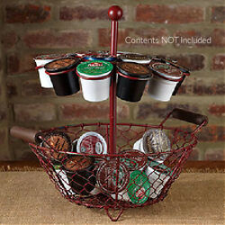 New Primitive Rustic Farmhouse AGED RED K CUP HOLDER Basket Tiered Caddy Bin