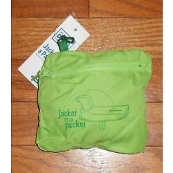 OLD NAVY GREEN ''JACKET IN A PACKET'' RAINCOAT WITH DETACHABLE HOOD - SIZE XSMALL