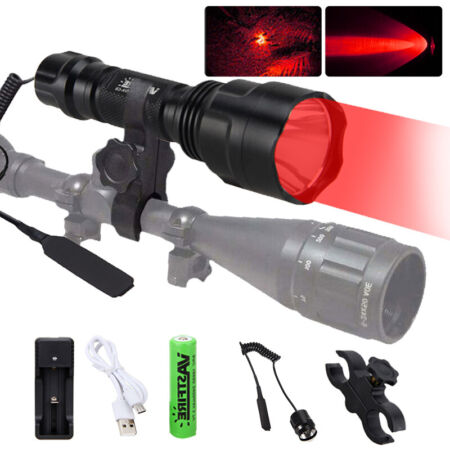 img-Tactical 400 Yards Red LED Flashlight Lamp Hunting Air Rifle Torch Scope Mount
