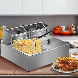 5000W Electric Deep Fryer Stainless Steel Dual Tank Restaurant Home 12L/12.9QT