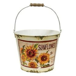 New Shabby Farmhouse Chic Rustic Distressed AGED SUNFLOWER BUCKET Pail Pot 8''