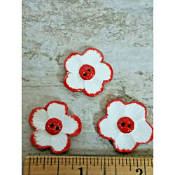 Kyпить Vintage Glass Poppy Buttons Red White 2 Holed 1