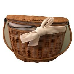 Princess House Casual Home Wicker Rattan Wall / Carry Basket & Linen Liner 1248