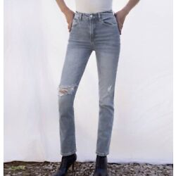 Reformation Liza Zip Fly High Rise Straight Jeans Palermo Destroyed Womens Sz 25
