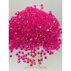 Kyпить *Ships From US* 5MM, 4MM, 3MM Hot Pink AB Flatback Resin Rhinestones 2000 pcs на еВаy.соm