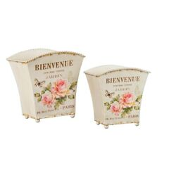 New French Country Shabby Chic PINK ROSE CACHET POT Metal Basket Planter Bucket