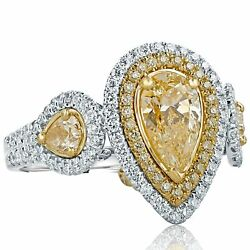 Kyпить GIA Certified 2.25 Ct Pear Cut Yellow Diamond Engagement Ring 18k White Gold на еВаy.соm