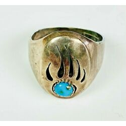 Kyпить Bear Paw Claw Ring Mens Size 18 Navajo Vintage Sterling Silver Turquoise Stamped на еВаy.соm