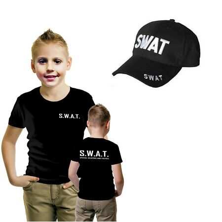 img-Boys Girl Special Weapons & Tactics Police Military T Shirt SWAT Printed Cap Set