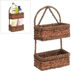 Decorative Hand-woven Ratten Brown Seagrass Wall Hanging 2-Tier Storage Basket