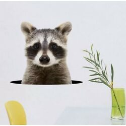 NEW 11 x10  Realistic Raccoon Popping Up Out Of Wall / Laptop / Car Vinyl Decal