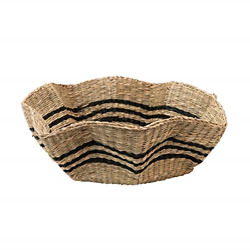 Creative Co-Op Hand-Woven Scalloped Seagrass Basket with Black Stripes Tray