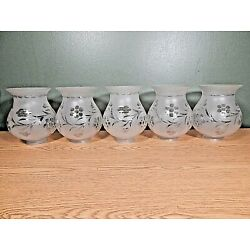 Kyпить SET OF 5 ANTIQUE FROSTED AND CUT GLASS CHANDELIER SHADES, 2 1/4