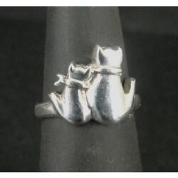 Kyпить Ring Silver Cat and Kitten Backsides Sitting Sterling 925 Size 4.5 Band Ring  на еВаy.соm