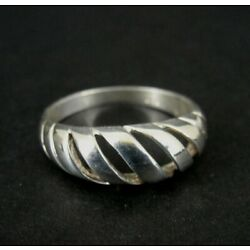 Kyпить Ring Silver Domed Slanted Lines Cut Out Design Sterling 925 Size 9 Band Ring  на еВаy.соm