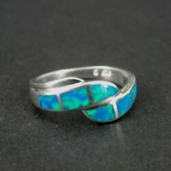Kyпить Ring Silver Blue Gilson Opal Stones Band Sterling 925 Size 4 Ring Band   на еВаy.соm