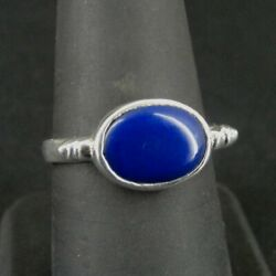 Kyпить Ring Silver Blue Oval sideways Stone Band Sterling 925 Size 8 Ring Band  на еВаy.соm