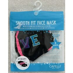 Capelli Youth 5+ 3-pack Reusuable Cotton Facemasks! Hearts, Pink, Black BNIP