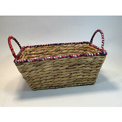 Woven Basket Rectangular With Red White & Blue Fabric Rim