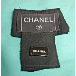 2 Authentic CHANEL Clothing Label Tag Black  2