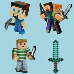 4 x Minecraft  Photo Quality Full Colour Wall Stickers Transfer Easily 3 sizes