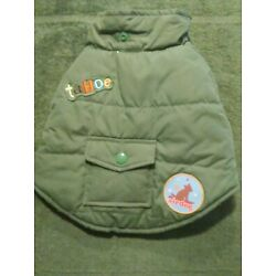 Old Navy Dog Supply Co Quilted Army Green Dog Jacket & Hood XS