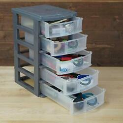 Massca 5 Drawer Storage Drawers and Personal Organizer, Heavy-Duty Plastic Conta