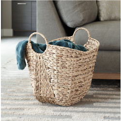 Water Hyacinth Wicker Basket with handle Tall Home Decor Storage Basket