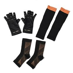 Set Of 3pc Cooper Sleeve Glove Leg And Foot Anti-Fatigue Compression Sleeve