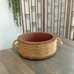 Hobby Lobby Rope Wrapped Red Wooden Round Basket