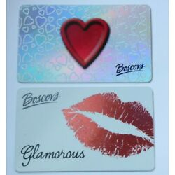 Boscov's Gift Card - LOT of 2 - Silver Foil - Red Lips & Red Heart - No Value