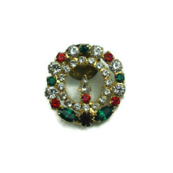 Vintage Jewelry Brooch Pin Christmas Wreath Candle Rhinestones Bling Fabulous