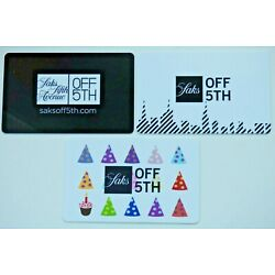 Saks Fifth Avenue Gift Card LOT of 3 - Party Hats - Saks Off Fifth - No Value