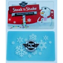 Steak 'n Shake Gift Card - LOT of 2 Christmas Holidays - Snowman - No Value